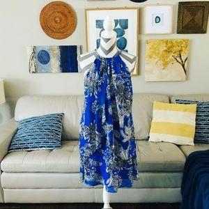 Flowy Layered Halter Paisley Print Dress